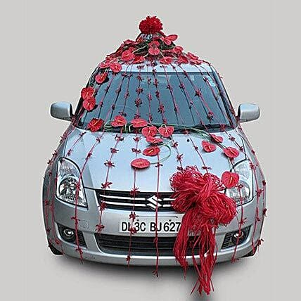 Blooming in Red Car Decor: Car Decoration