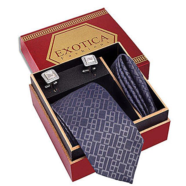 Blue N Silver Micro Silk Tie Set: Ties and Cufflinks