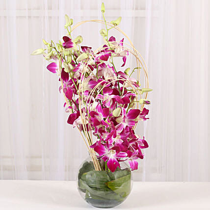 Purple Orchids Vase Arrangement Flowers For Birthday