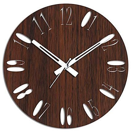 Brown Wooden Wall Clock For Home Decor: Wall-Clocks
