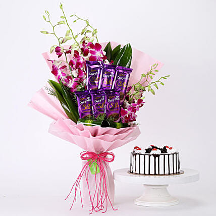 Bunch Of Orchids & Black Forest Cake Combo: Cadbury Chocolates