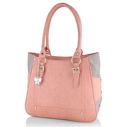 Butterflies Trendy Peach Handbag: Handbags and Wallets