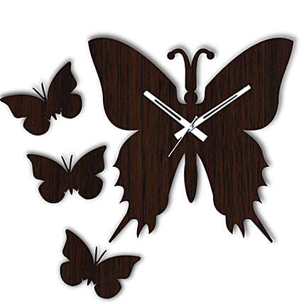 Butterfly Brown Wall Clock: Wall-Clock Gifts