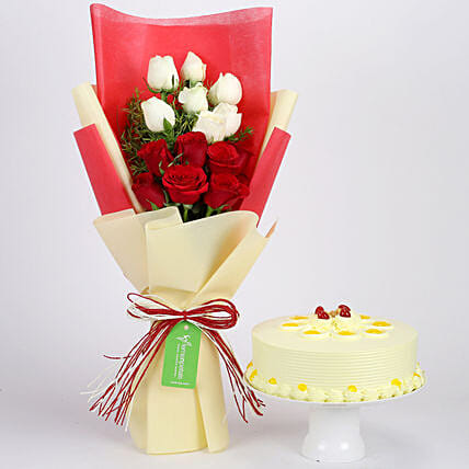 Butterscotch Cake & Red & White Roses Bouquet: Flower Bouquet with Cake