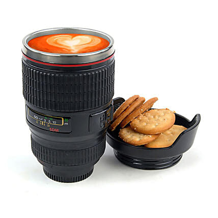 Camera Lens Mug with Lid: Funny Gifts