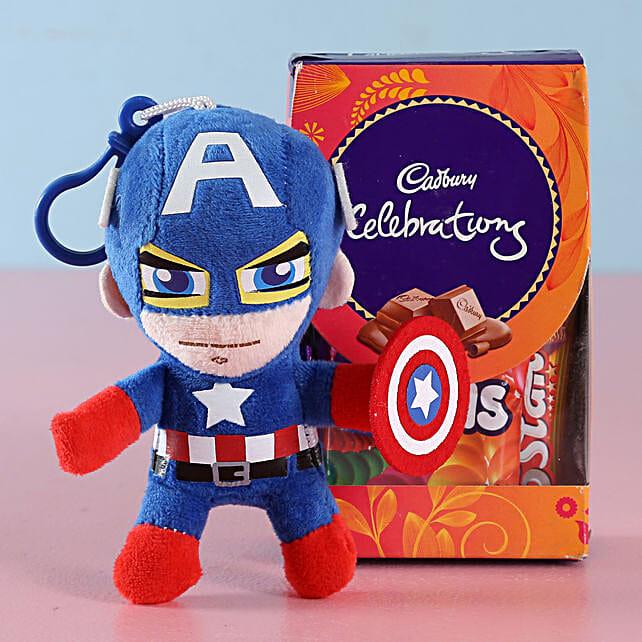 Captain America Rakhi & Cadbury Chocolates: Send Cartoon Rakhi