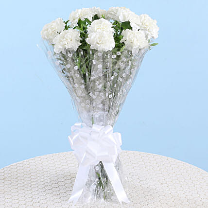 Captivating White Carnations Bouquet: White Flowers