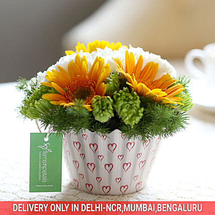 Carnations & Gerberas Cupcake Arrangement: Exotic Flowers
