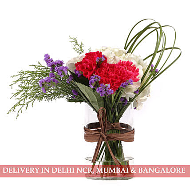 Carnations & Hydrangea in Glass Vase: Send Carnations
