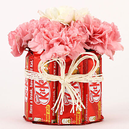 Carnations & Kit Kat Glass Arrangement: Send Flowers and Chocolates