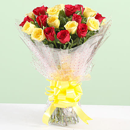 Charming Bouquet Of Red & Yellow Roses: Mixed Colour Flowers