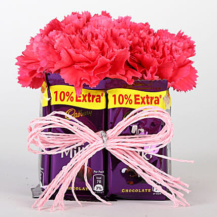 Choco Carnations Glass Vase Arrangement: Cadbury Chocolates