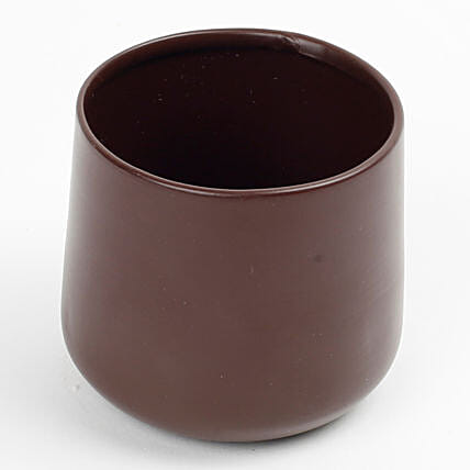 Chocolate Brown Metal Vase: Pots for Plants