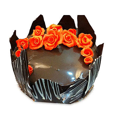 Chocolate Cake With Red Flowers: Birthday Cakes Ghaziabad