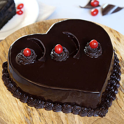 Chocolate Truffle Heart Cake:
