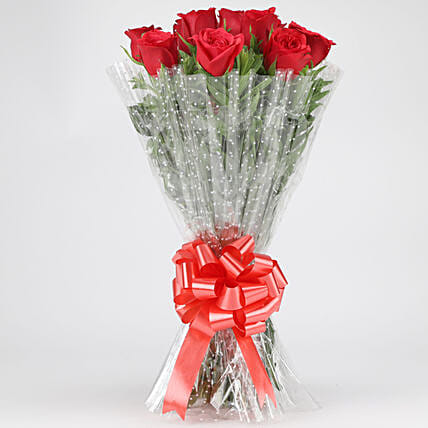 Classy Red Roses Bouquet: Valentines Day Flowers