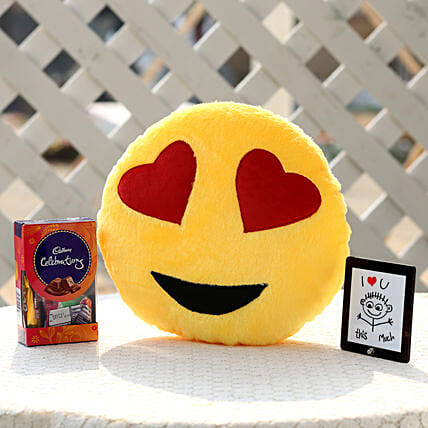 Crazy In Love Smiley Cushion & Celebrations Combo: