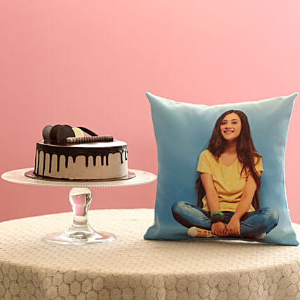 Creamy Chocolate Cake & Picture Cushion Combo:
