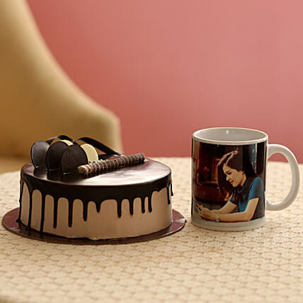 Creamy Chocolate Cake With Picture Mug: Cakes N Personalised Gifts