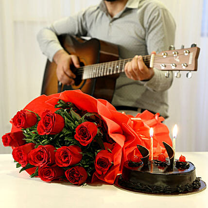 Creamy Floral Tunes Combo: Send Flowers & Guitarist Service