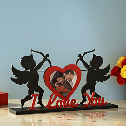 Cupid's Bow & Arrow Love Photo Frame: Heart Shaped Gifts for Valentines Day
