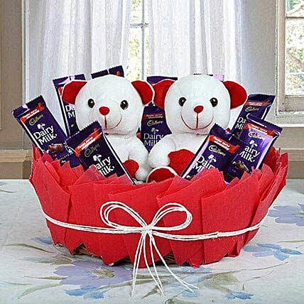 Chocolatey Basket of Teddy Bears: Chocolate Bouquet