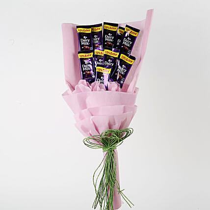 Dairy Milk Chocolates Pink Paper Bouquet: Cadbury Chocolates