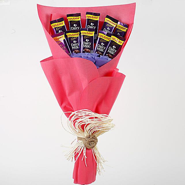 Dairy Milk Chocolates Red Paper Bouquet: Send Chocolate Bouquet