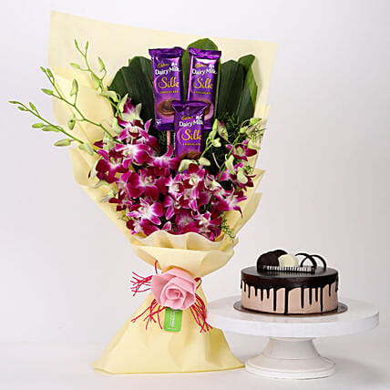 Dairy Milk & Orchids With Chocolate Cake: