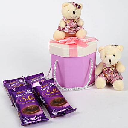 Dairy Milk Silk & Teddy Bear Gift Box: