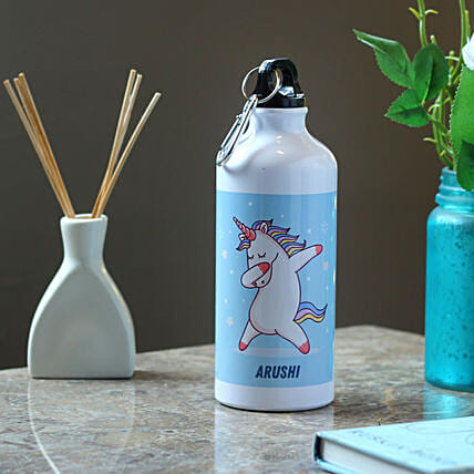 Dancing Unicorn Personalised Steel Bottle: Send Personalised Message Bottles