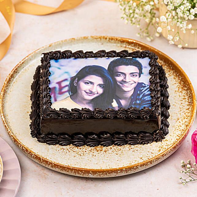 Decorated Chocolate Photo Cake: Truffle Cakes