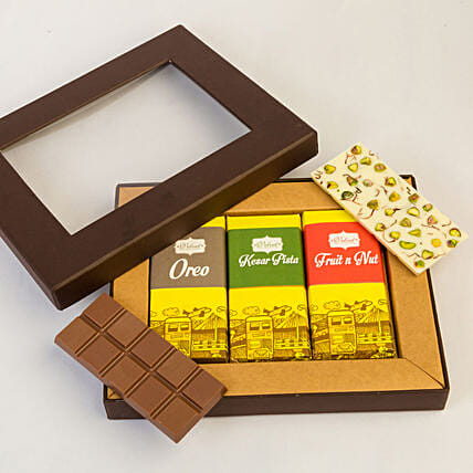 Delecatable 3 Chocolate Bars Box: Chocolate Gifts in India