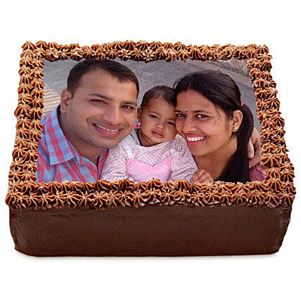 Delicious Chocolate Photo Cake: 75th Anniversary Gifts
