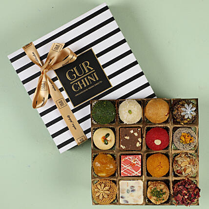 Delicious Mixed Mithai in Stripes Box- 16 Pcs: Sweets Delivery