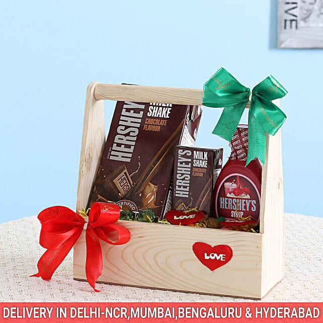 Delightful Hershey's Wooden Basket: Diwali Gift Hampers