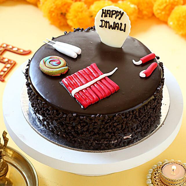 Diwali Crackers Chocolate Cake: Send Diwali Cakes