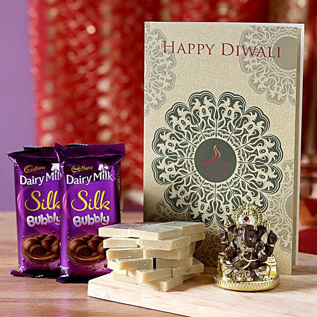 Diwali Greetings With Gold Plated Ganesha Idol: