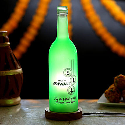Diwali Wishes Bottle Lamp: Send Diwali Gifts for Parents