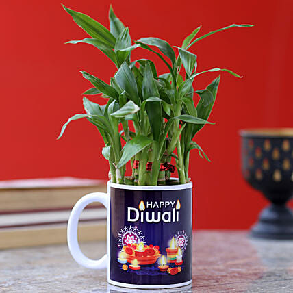 Diwali Wishes Two Layer Bamboo Plant: Indoor Plants
