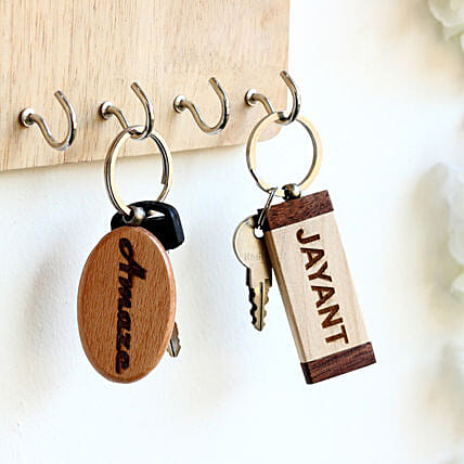 Engraved Personalised Contrast Key Chains Set of 2: