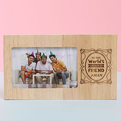 Engraved Wooden Photo Frame For Best Friend: Personalised Photo Frames for Friendship Day