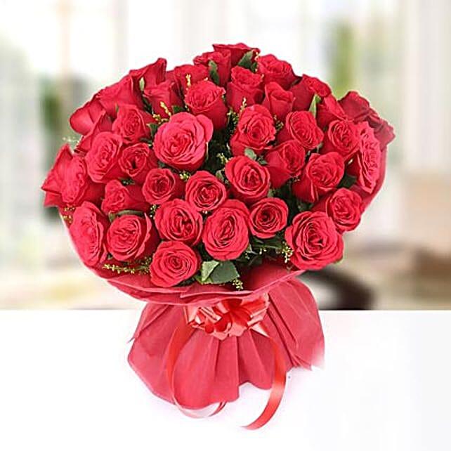Flowery Feelings- Bunch of 40 Red Roses: Premium Roses