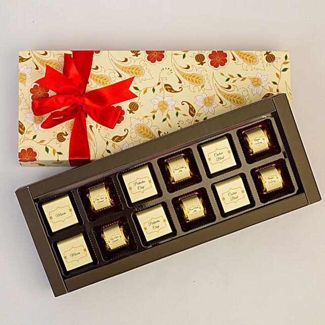 Floral Box Of Chocolates- 12 Pcs: Chocolates Shopping India