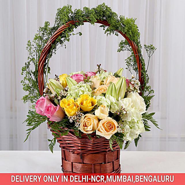 Floral Delight Basket Arrangement: