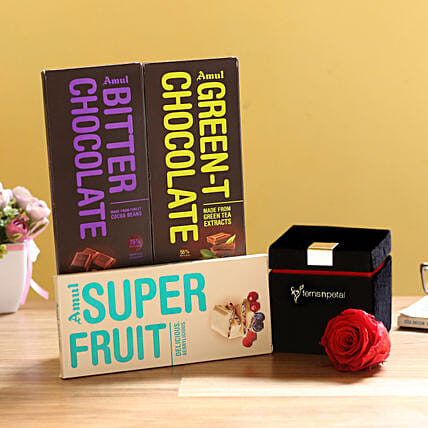 Forever Red Rose & Special Amul Chocolates: Grand Parents Day Gifts