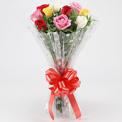 Fragrant Mixed Roses Bouquet: Flowers for Valentines Day