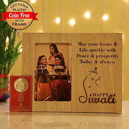Free Gold Plated Coin With Engraved Photo Frame: Personalised Photo Frames