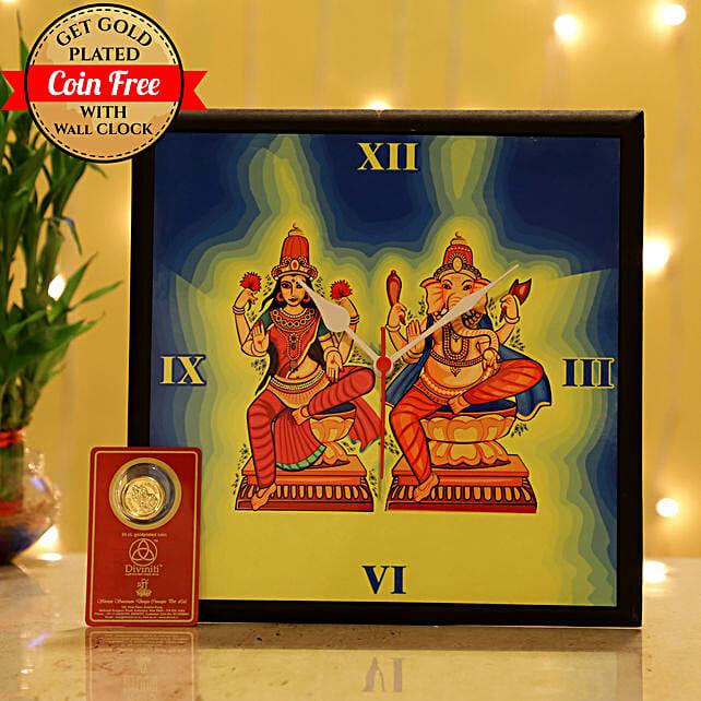 Free Gold Plated Coin With Laxmi Ganesha Wall Clock: Laxmi Ganesha Idol Gifts