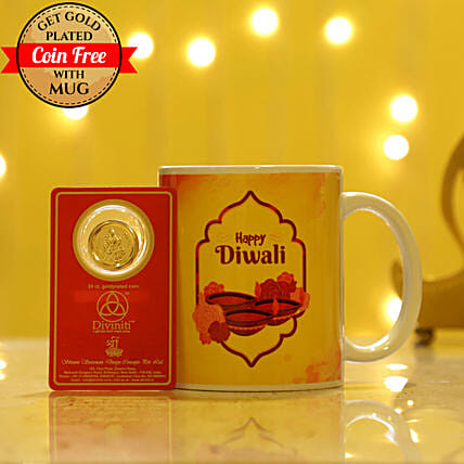 Free Gold Plated Coin With White Diwali Mug: Combo Gifts